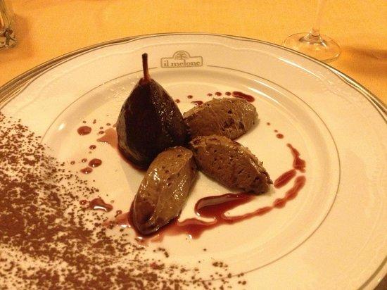 Borgo il Melone: Restaurante excelente! Sobremesa: mousse de chocolate com pêra cozida no vinho