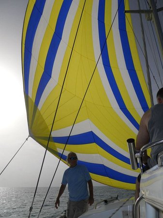 Sunluver Charters - Day Tours: Capt.Bob, The Sunluver and the spinnaker