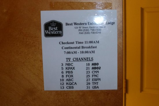 BEST WESTERN University Lodge : Small selection and not all work