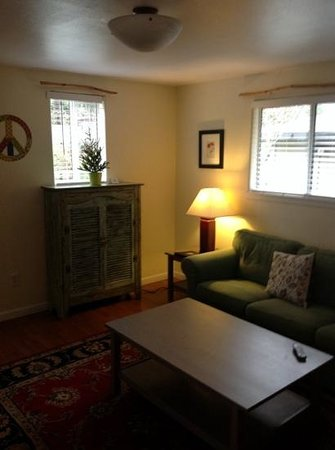 Cottages on River Road: living room...notice the peace sign :)