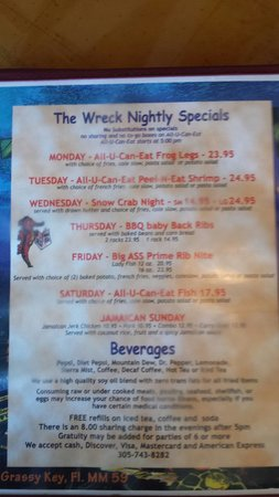 S.S. Wreck & Galley Grill: Menu