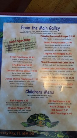 S.S. Wreck & Galley Grill : Menu