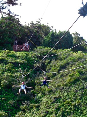 Kapalua Ziplines : The first zip-line of the day!