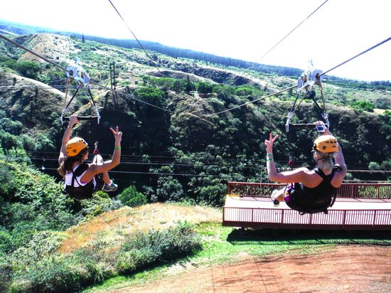 Kapalua Ziplines : Kelsey & myself on one of the zip-lines! We don't get to do this in Wisconsin!