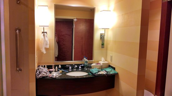 Renaissance Charlotte Suites Hotel : Lamp doubling as a towel rack; shower to the left