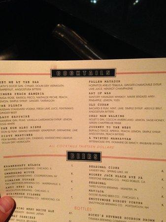InterContinental Chicago: Cocktail Menu