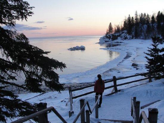 Lutsen Resort on Lake Superior : Winter evening on Lake Superior
