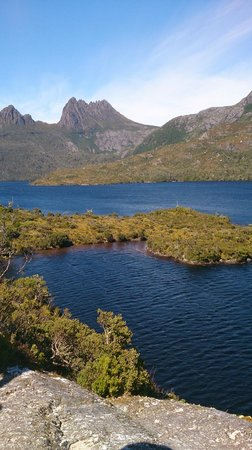 Dove Lake Circuit: View of Cradle Mountain from Glacier rock