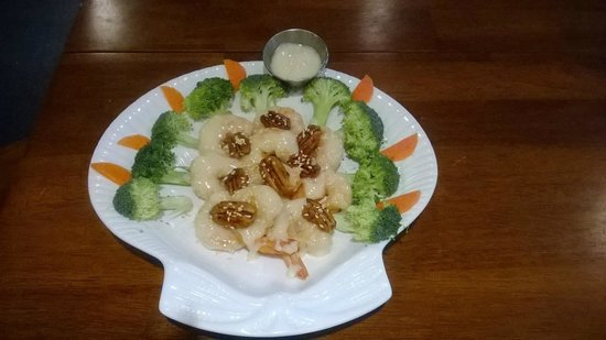 Pecan Shrimp I ate at Tropical Ocean cafe in Corpus Christi