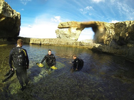Swanage Diving: Dive tour to Gozo. Photo taken at the Blue Hole. In the background you can see the Azure Window.