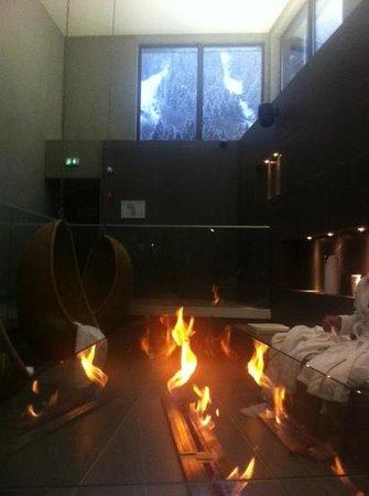 Hôtel l'Héliopic : Autour de la cheminée du spa