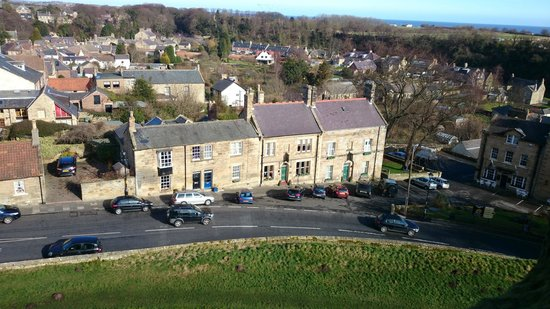 Roxbro House: View of Roxbro from Warkworth Castle (Building with the green doors)