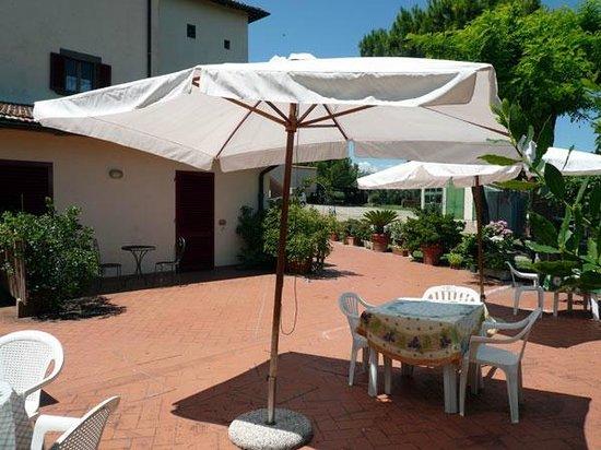 Agriturismo Bruscola: terrazza con spazio sdrai, ombrelloni e tavoli