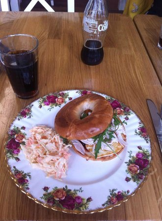 Rosey Lea: Halloumi and chicken bagel with chilli jam + coleslaw