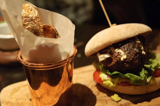 River Bar Steakhouse & Grill : Avocado burger and wedge fries