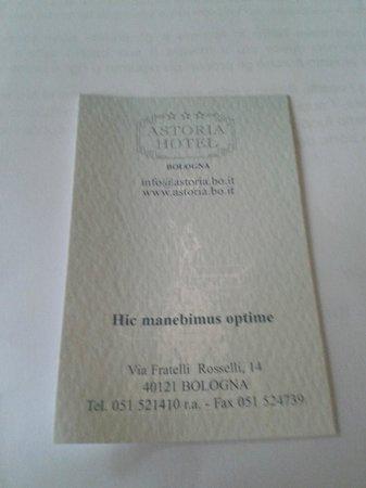 Astoria Hotel Bologna: biglietto da visita