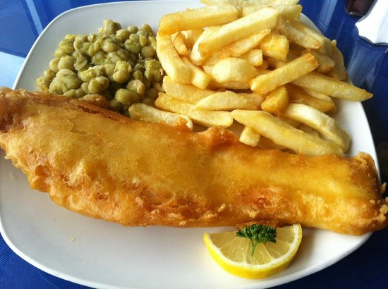 Fish Tram Chips: Cod, chips and peas