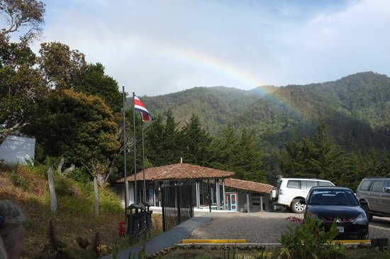 "Dantica Cloud Forest Lodge: A surprise rainbow, created by the mist ""flowing"" over the hills."