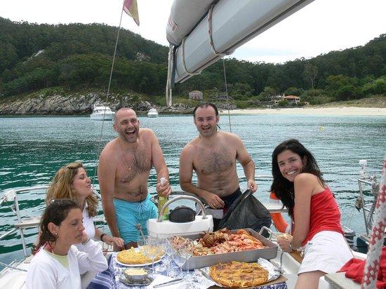 Catering a bordo en la playa