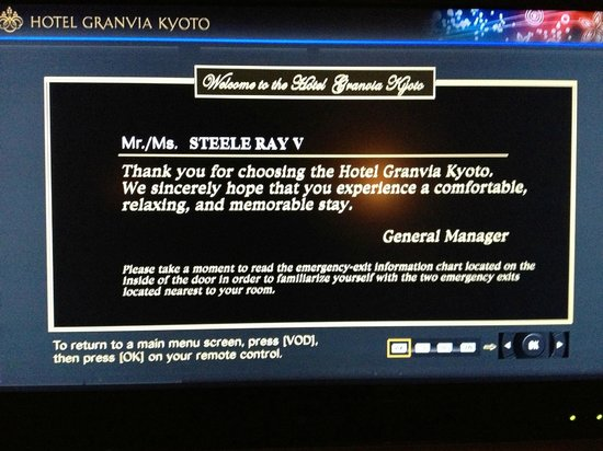 Hotel Granvia Kyoto: Hotel Greeting at our Room