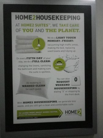 Home2 Suites by Hilton San Antonio Downtown - Riverwalk: Their cleaning schedule for long-term guests.