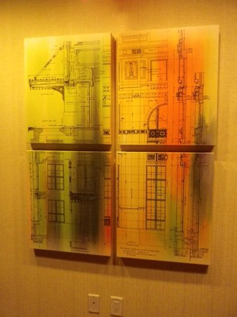 Home2 Suites by Hilton San Antonio Downtown - Riverwalk: Some appropriate decor beside the elevators shows the buildings original drawings. Nice touch.