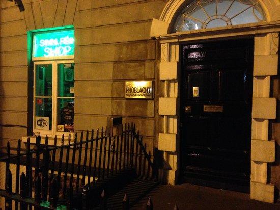 Rebel Tour of Dublin: The City That Fought an Empire: Sinn Fein Bookshop by night.