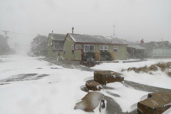Ocean Inn at Manzanita: Unusual winter snow storm hits Manzanita. View of Ocean Inn during the beginning of the storm.