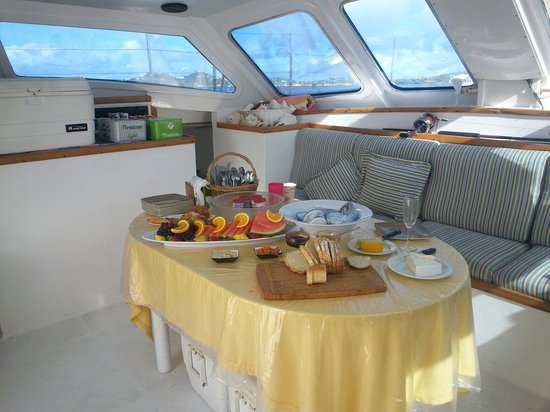 Celine Charters : This is the breakfast banquet that awaited us for our day sail on the Catamaran Celine.  Fresh a