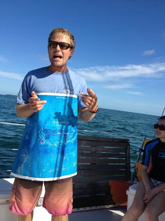 Danger Charters: On board guide and teacher with a map and brainfood on the Refuge.