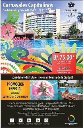 Hotel El Panama: Volante de promo para residentes