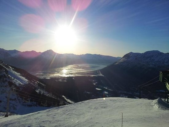 Seven Glaciers: Sun going down over Turnagain Arm and Kenai Mountains