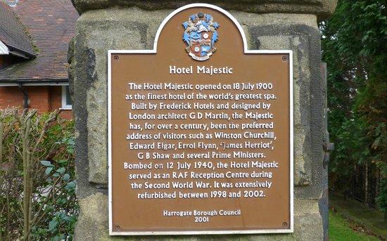 The Majestic Hotel commemorative plaque