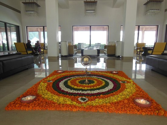 Trident, Agra : A mandala made of flowers in the lobby for Diwali