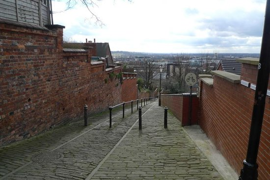 The Poplars : View looking down Motherby Hill with back gate on left