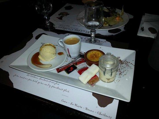 Maître Corbeau : café et ses petites douceur ( créme brulé, glace vanille, tiramisou, guimauve, chocolat ... )
