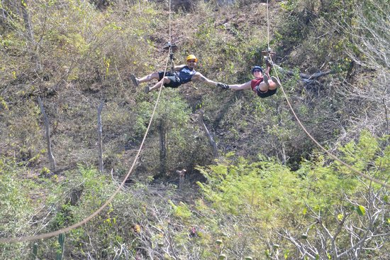 Veraneando Adventure Zipline Tour and River Ride Tour: The last zipline is a double so you can race or hold hands!