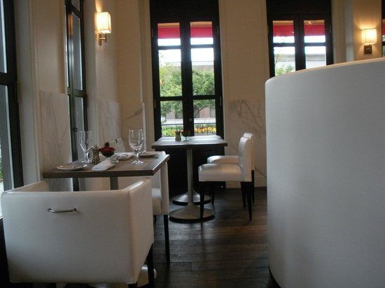Some of the seating in Cafe Zinc