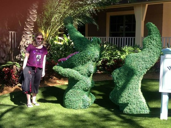 Disney's Vero Beach Resort : Posing by crocodile-shaped hedges!