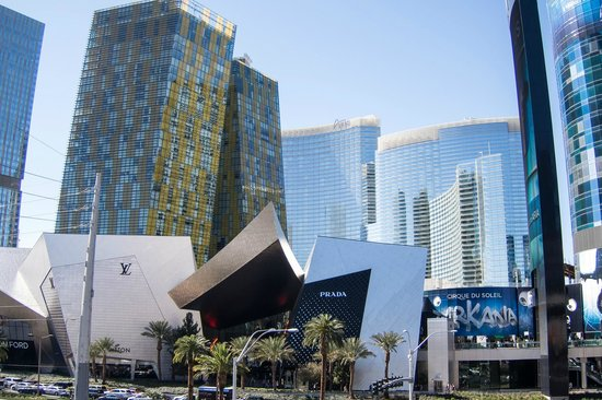 ARIA Resort & Casino: Exterior of hotel showing Crystals in the foreground