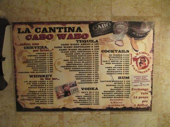 Cabo Wabo Cantina: Menu on the Wall