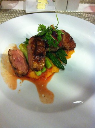 Tryp Berlin Mitte Hotel: I ate the duck on sweet potato mash with asparagus - loved the garnish too!