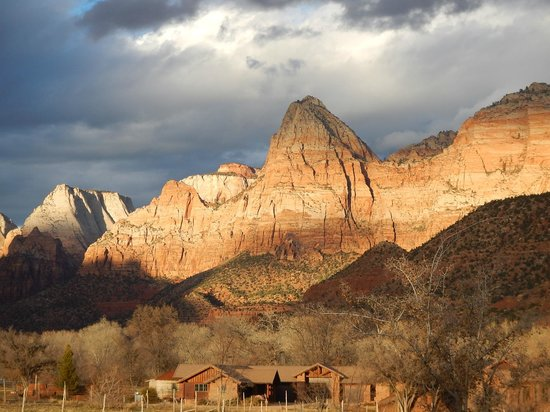 View of the Watchman, Zion National Park from Driftwood Lodge