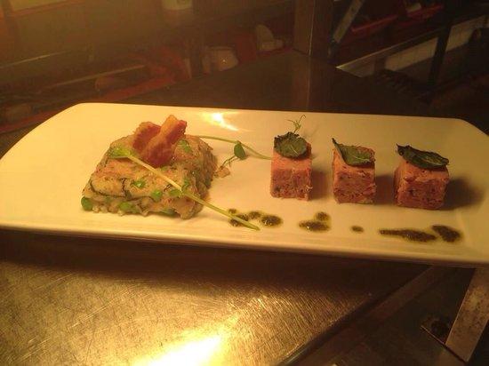 Bradley's: Ham hock, pea & mint risotto with homemade ham hock & wholegrain mustard terrine