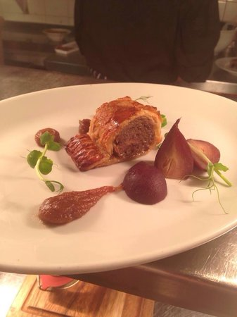 Bradley's: Seasonal game sausage roll with mulled baby pear & a prune & sherry ketchup