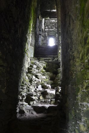 Ballycarbery Castle: View from the bottom of the staircase.