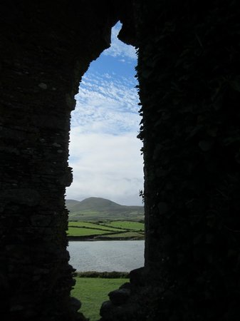 Ballycarbery Castle: View from the staircase window