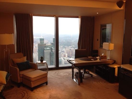 The St. Regis Shenzhen: View from the bedroom across the Shenzhen skyline