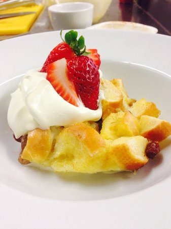 The Buck Inn: St Davids Day dessert bread & butter pudding, fresh whipped cream and strawberries