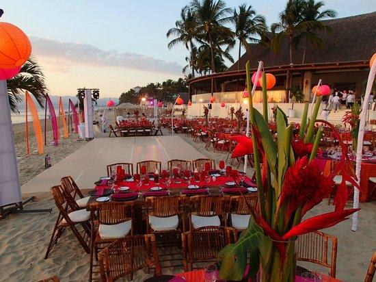 Grand Velas Riviera Nayarit: group dinner setup on the beach with dance floor